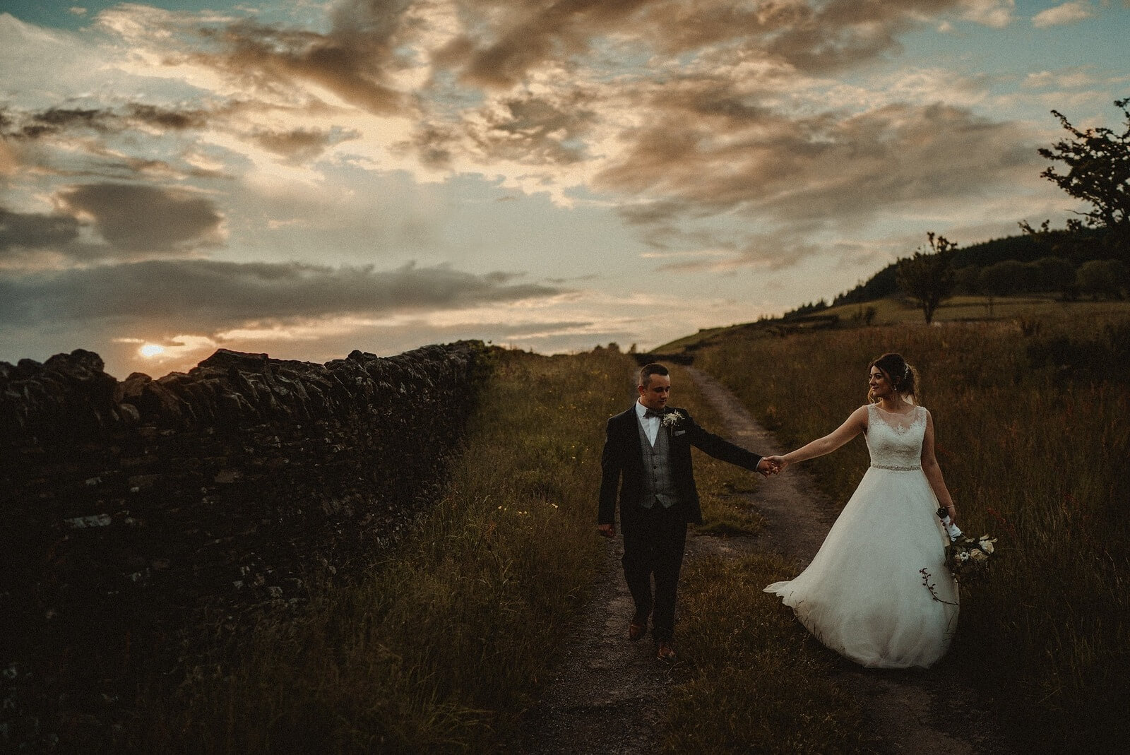 Bride and Groom Countryside Wedding Photo