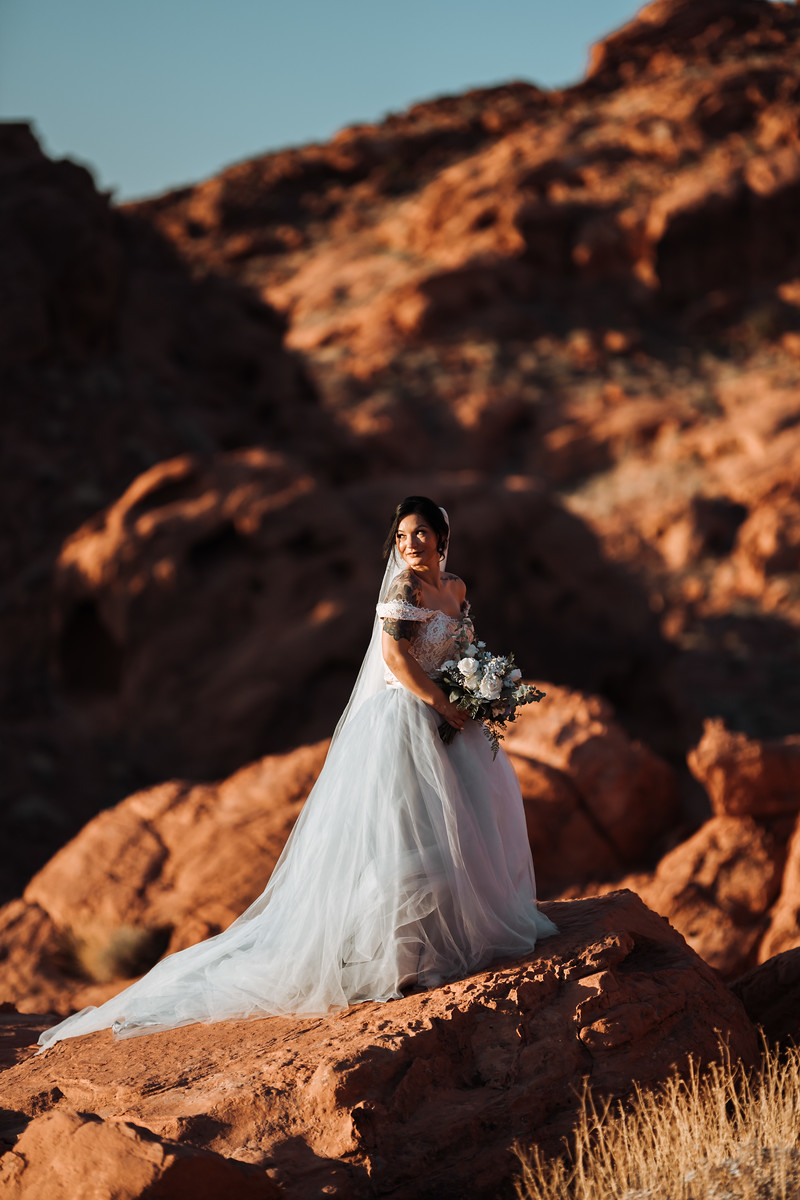 Bride looks out across her wedding venue
