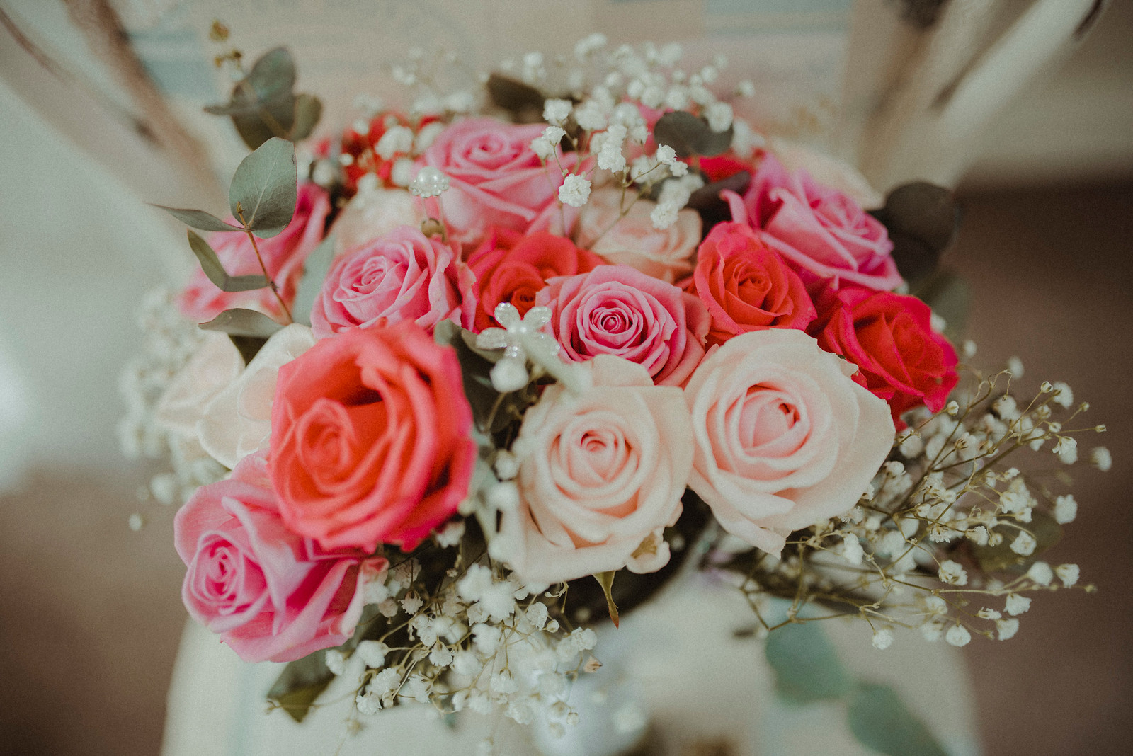 Pink and White Roses Wedding Flowers