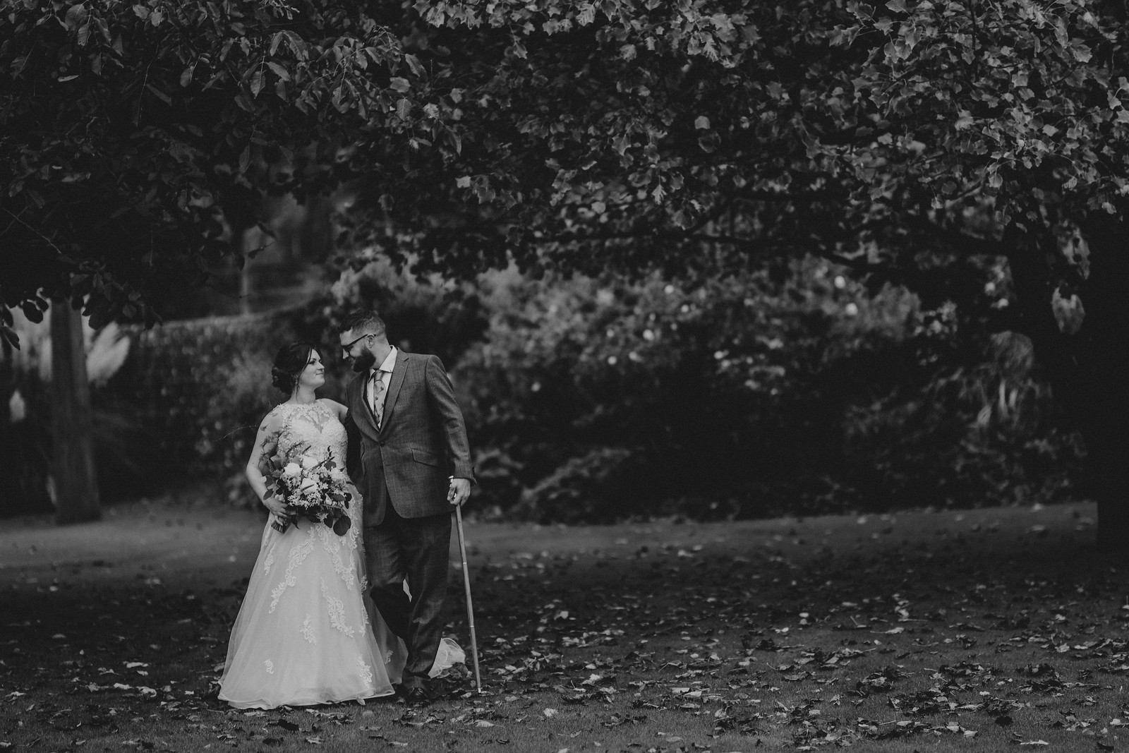 Bride and groom in a beautiful background