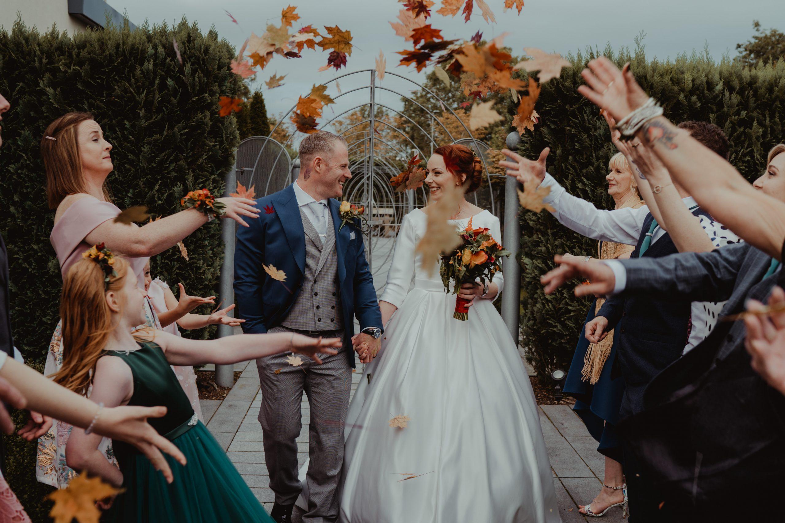 Unique Leaves Confetti Wedding Photo