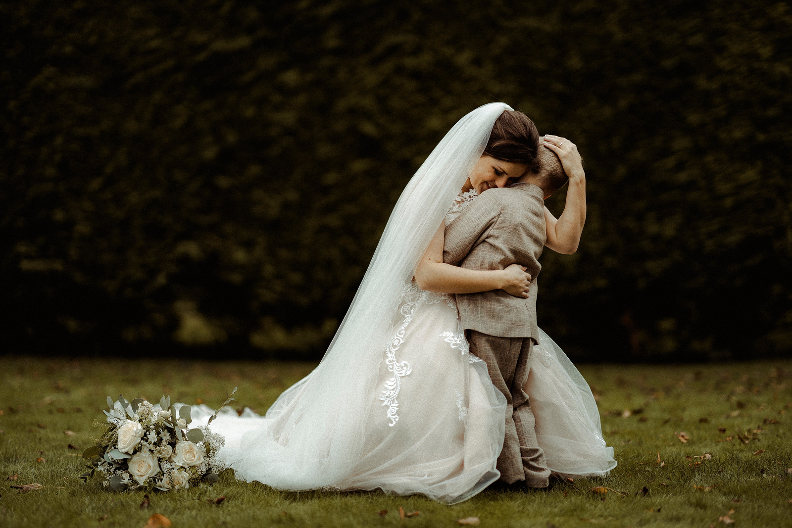Bride and her son wedding photo