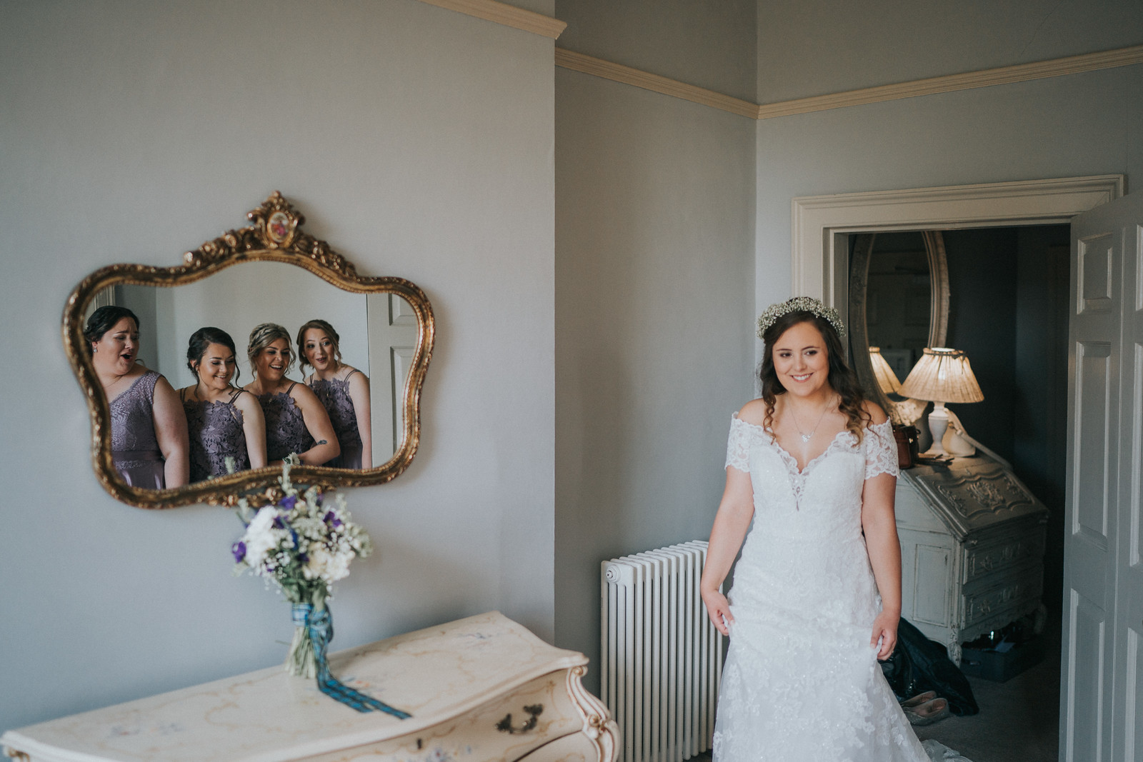 Unique image of bride and her bridesmaids - wedding photography Northumberland