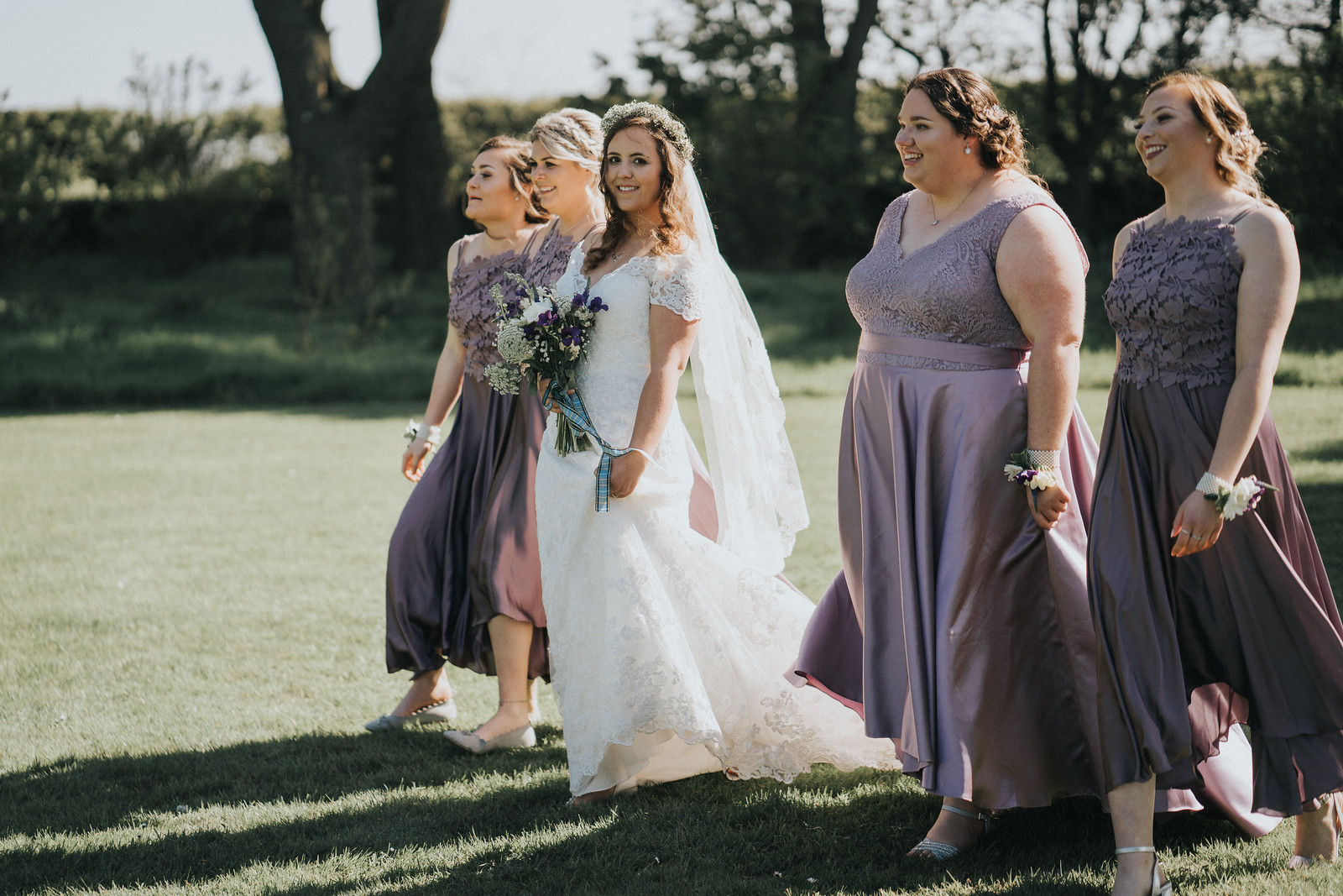 Bride and her bridesmaids - wedding photographers Northumberland