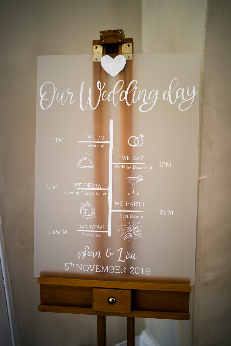 Clear see through Wedding Sign