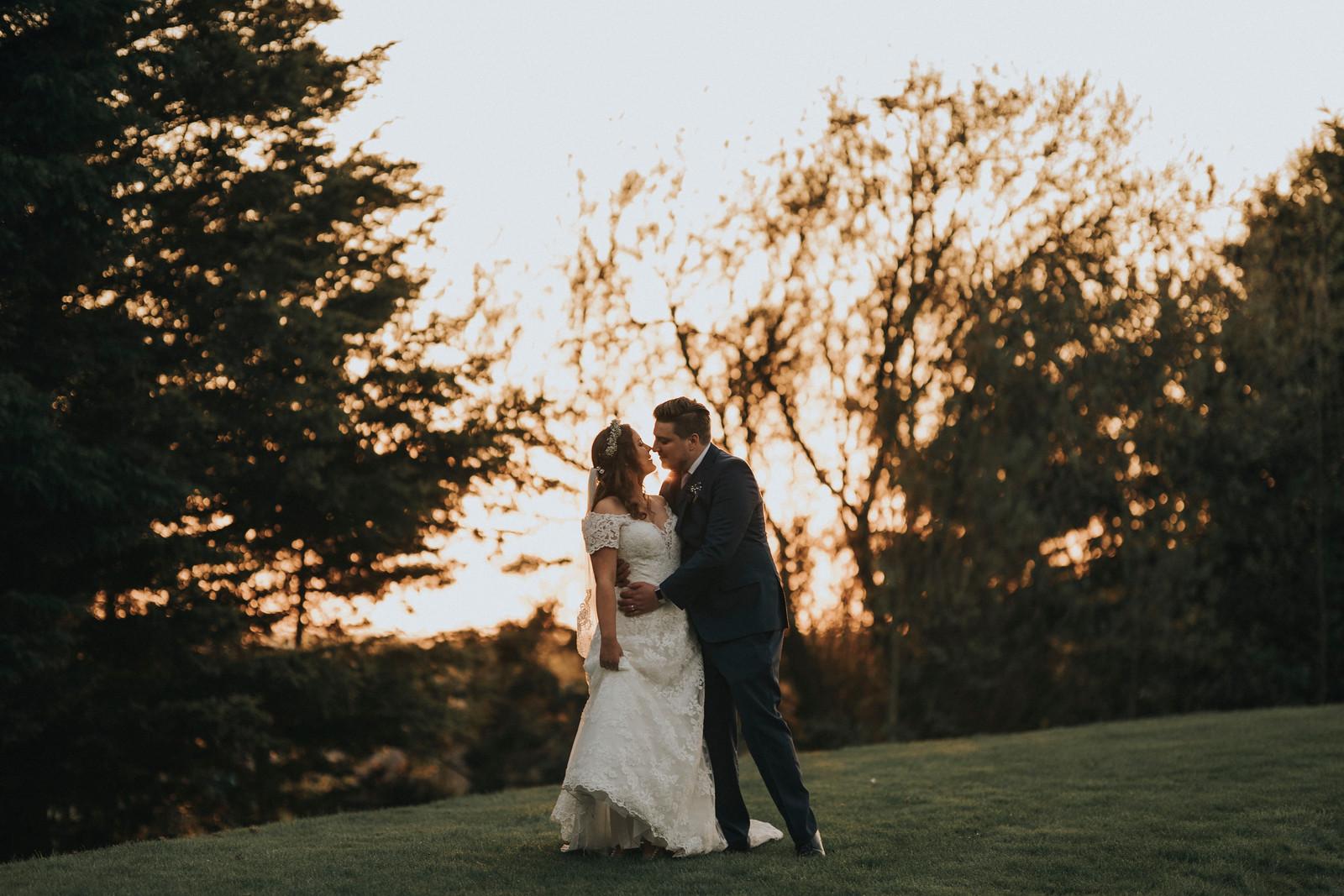 Bride and groom sunset wedding photo - Wedding photographers Northumberland