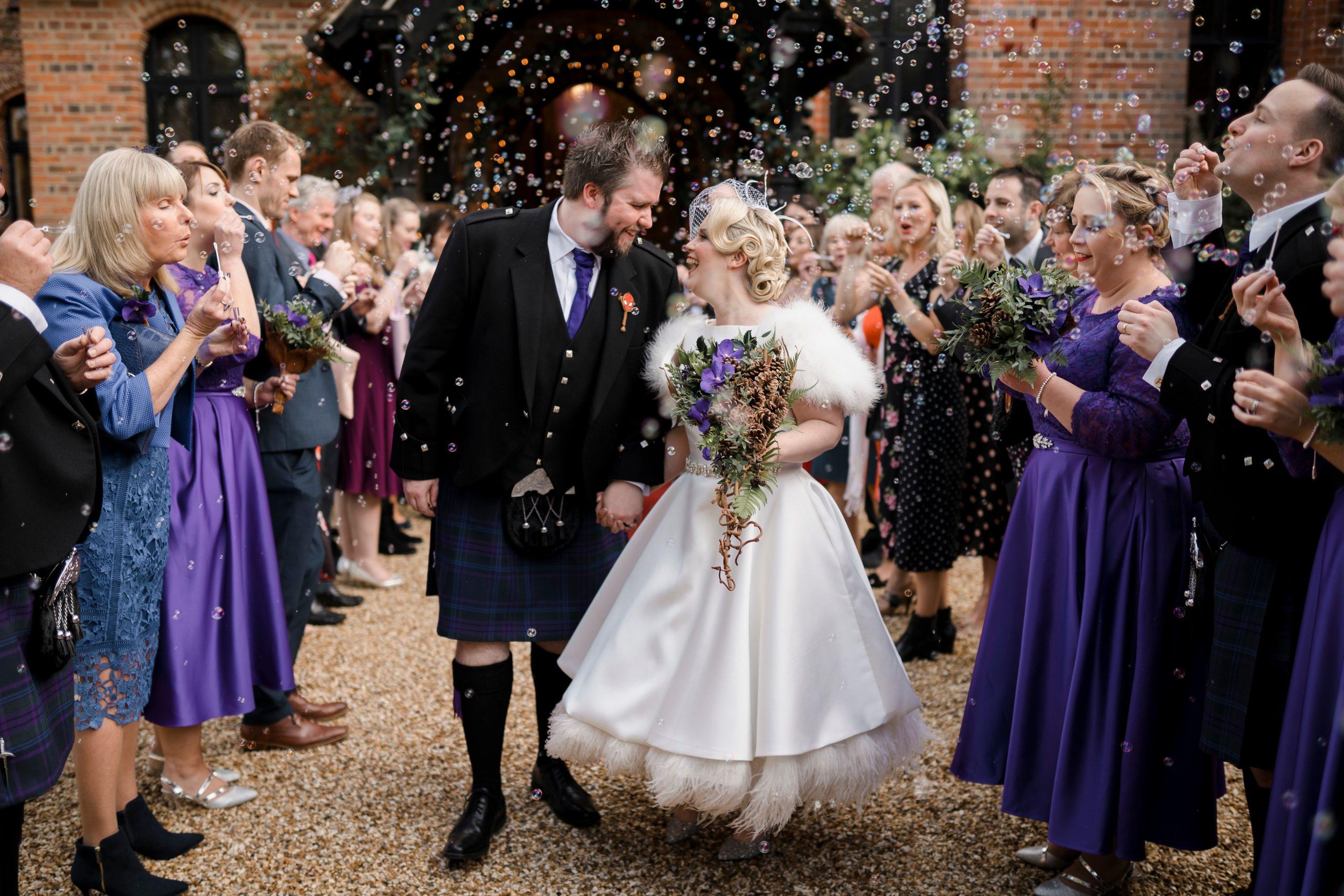 Bubbles Confetti Wedding Photo