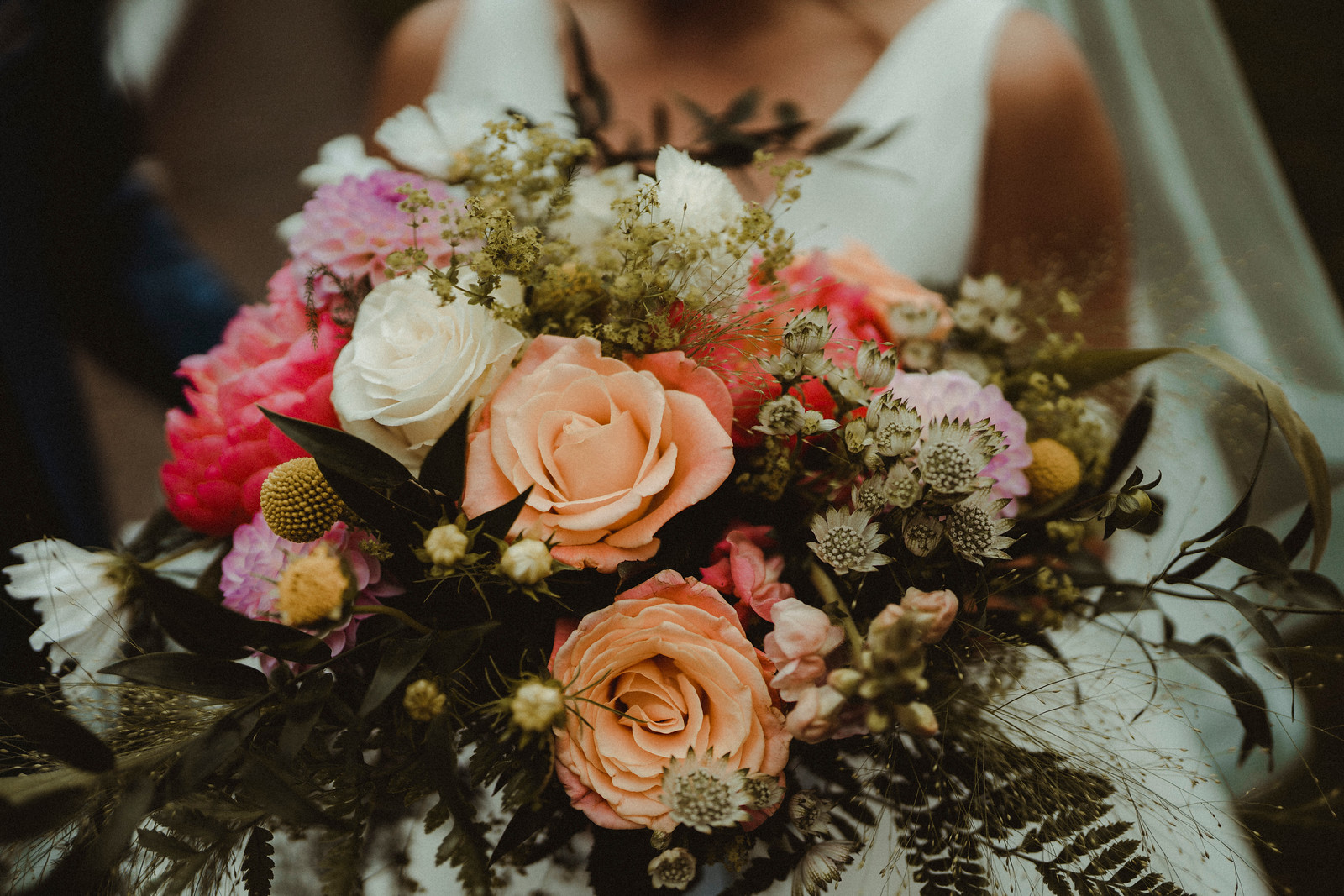 Peach, Pink and Purple Wedding Flowers