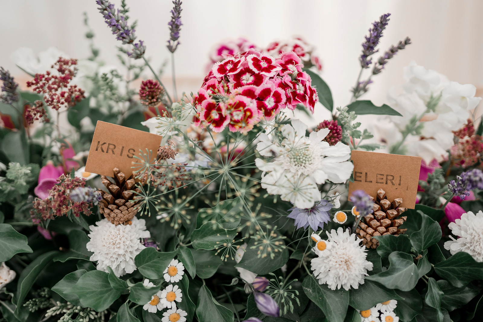 Pink and White an Greenery Wedding Flowers