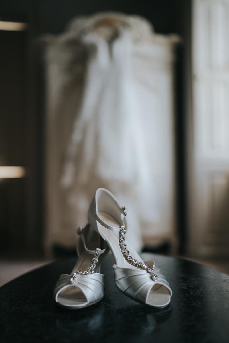 Wedding shoes and wedding dress image - wedding photography