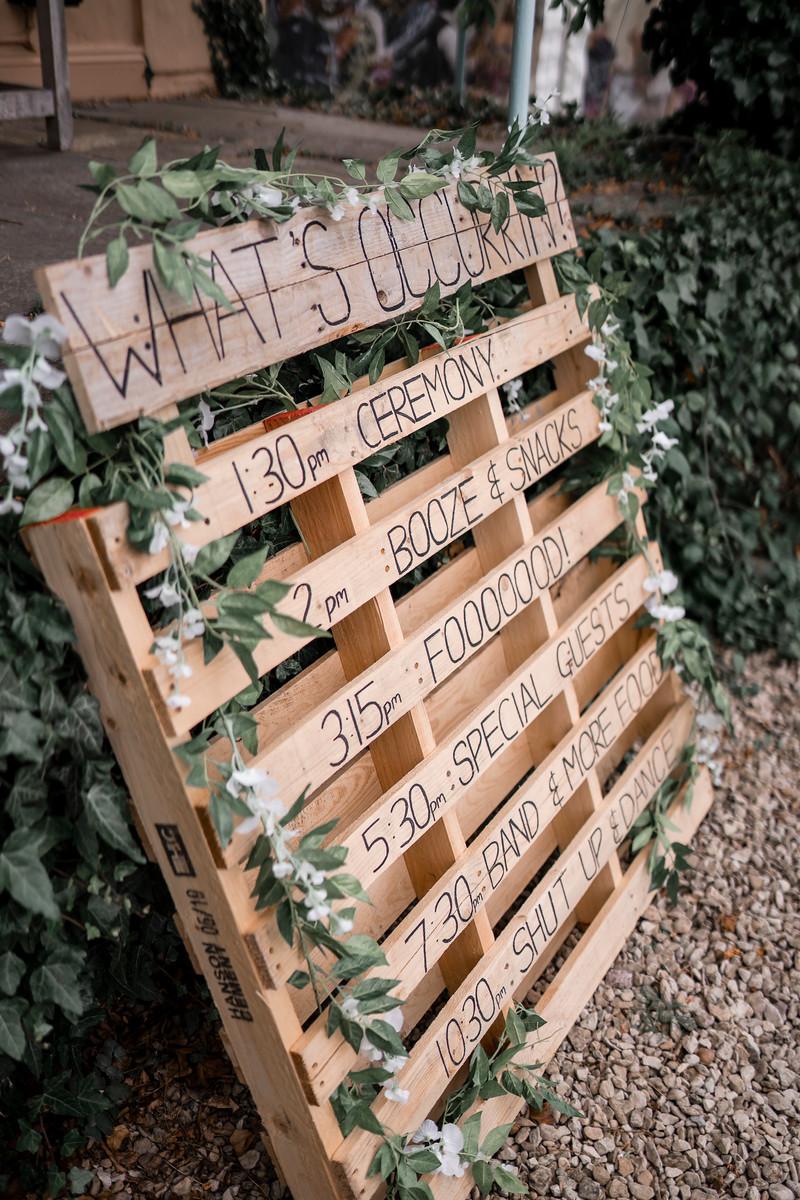 Unique Wooden Wedding Sign Design