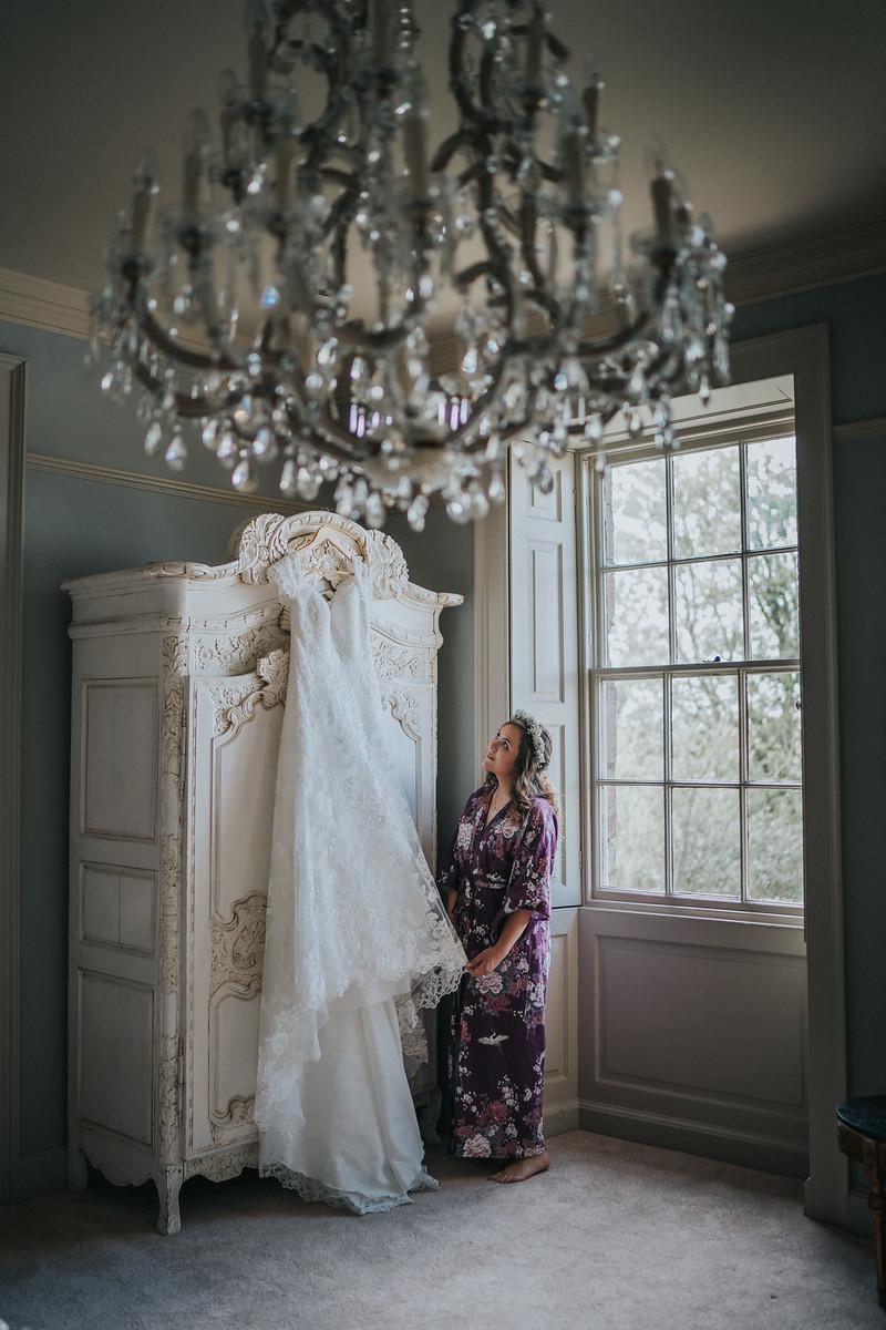 Bride and her wedding dress - Wedding Photographers Northumberland