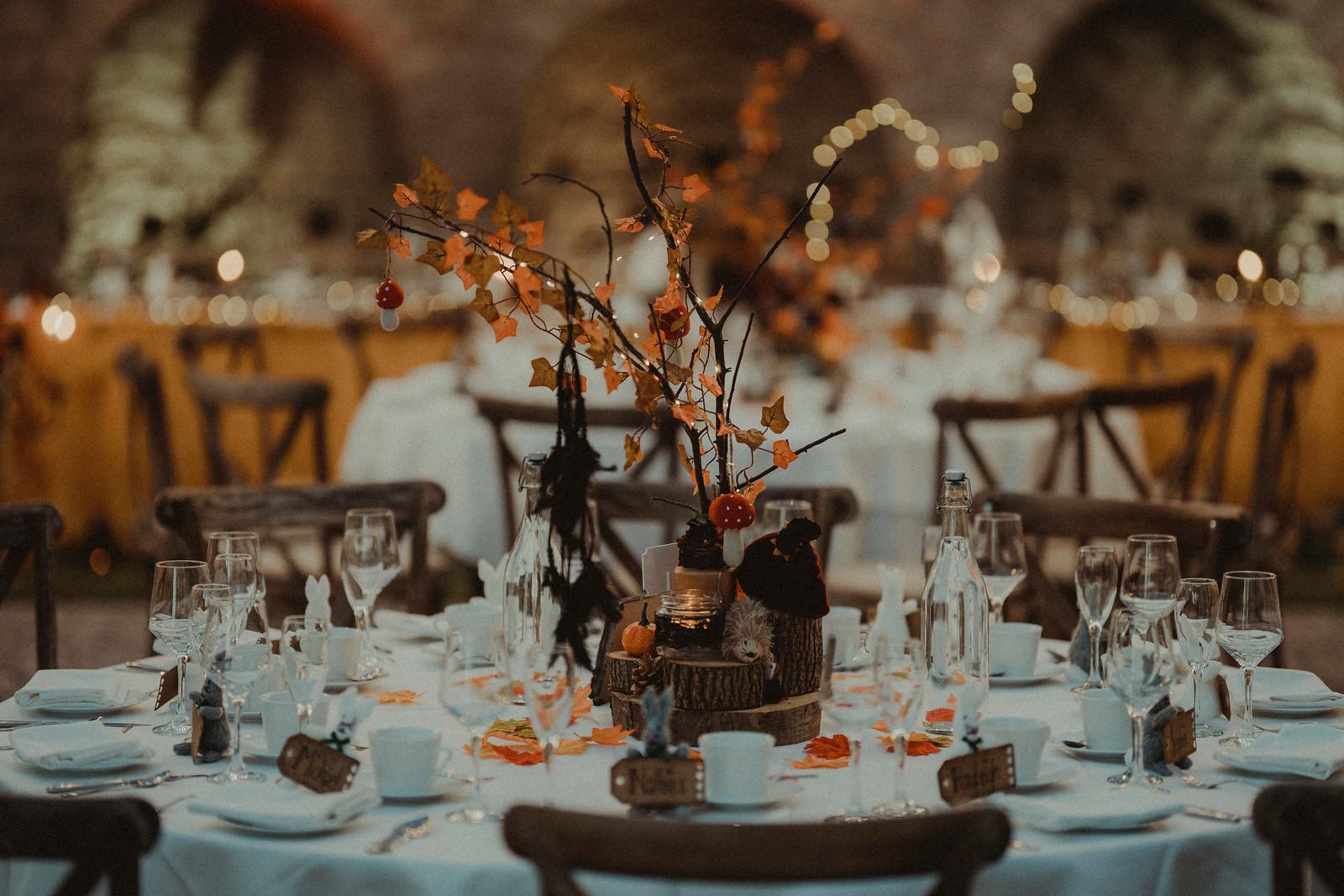 Autumn Leaves Wedding Centrepiece Design