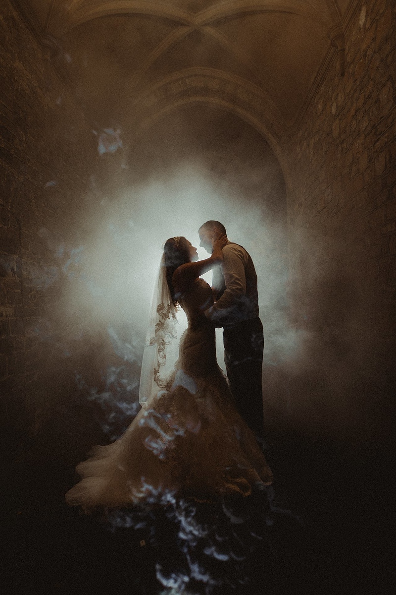 Bride and groom wedding image with smoke effect