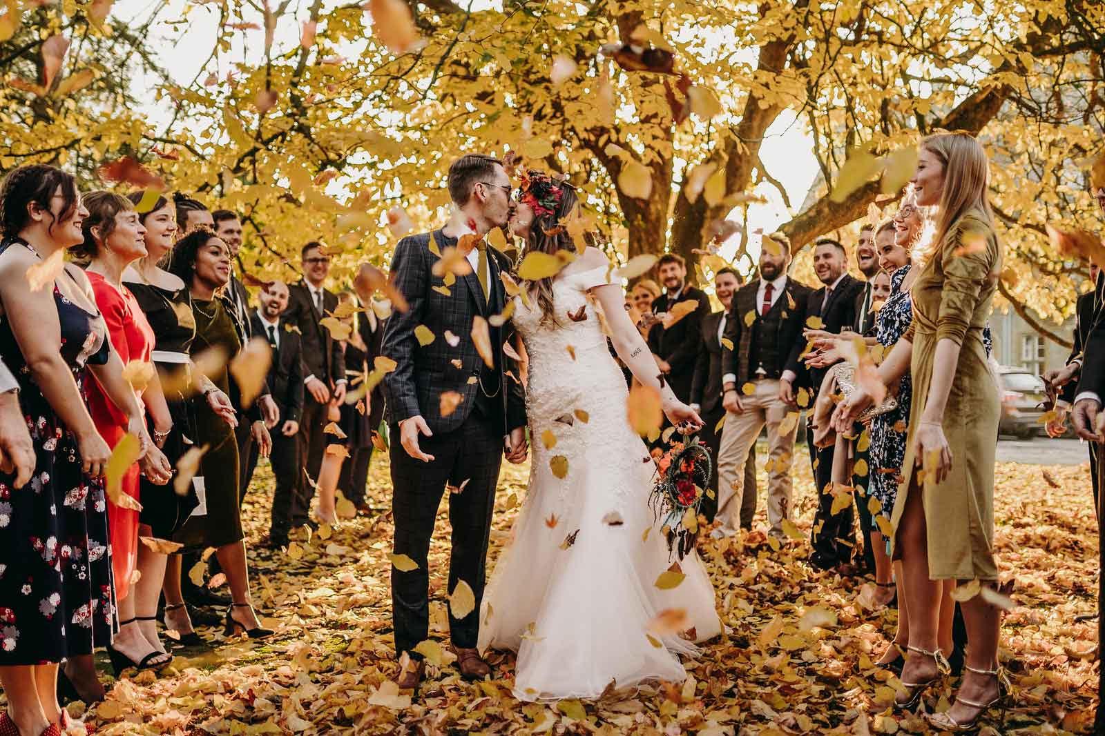 Unique Leaves Confetti Wedding Photo - Sorrento Wedding Photographers and Videographers