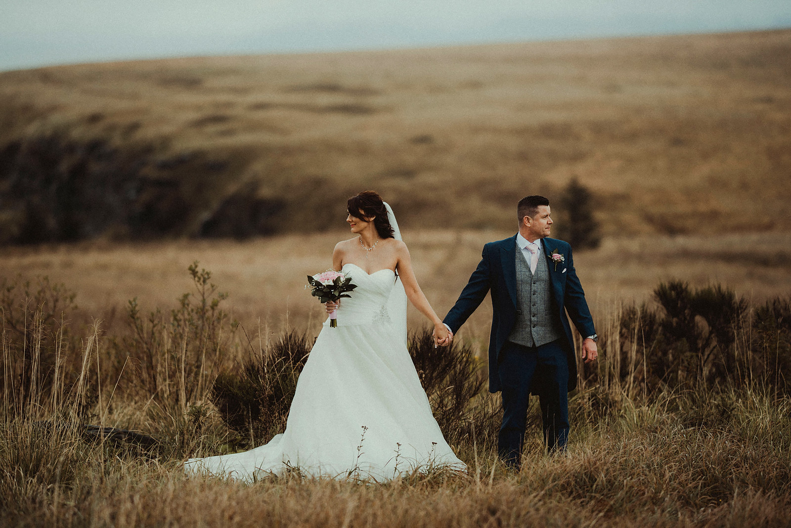 Wedding Photo of Bride and Groom in the Countryside
