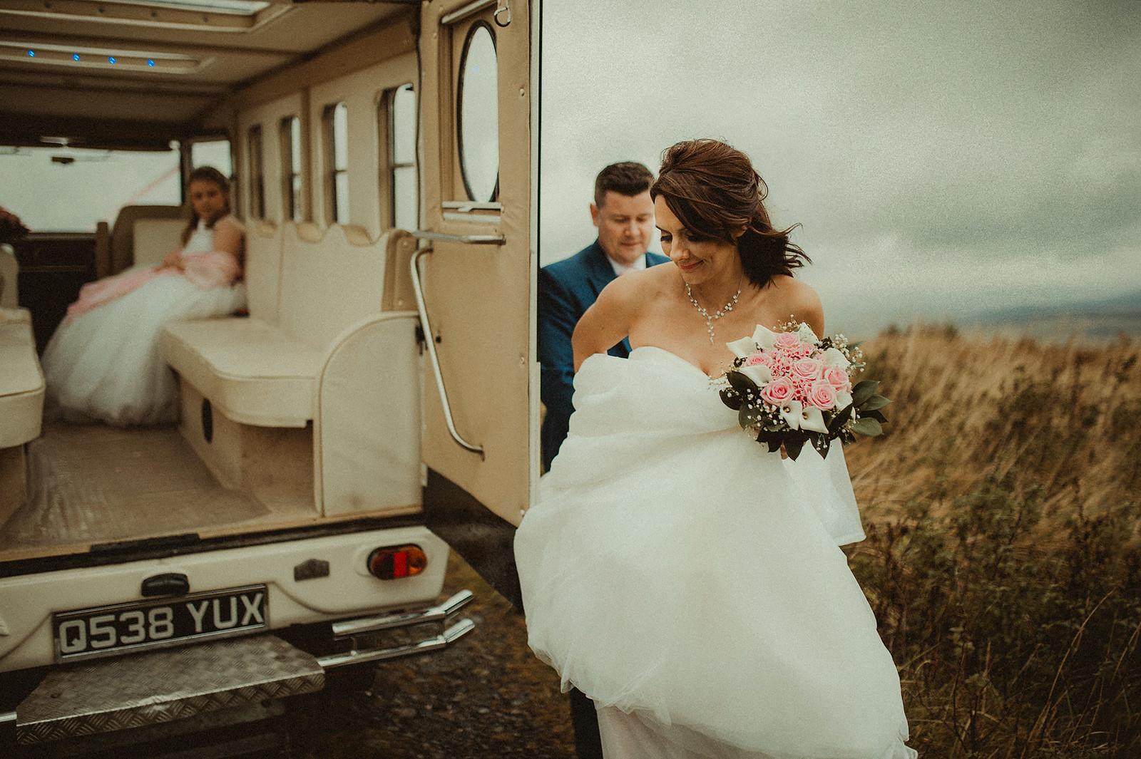 Bride and groom unique wedding photo