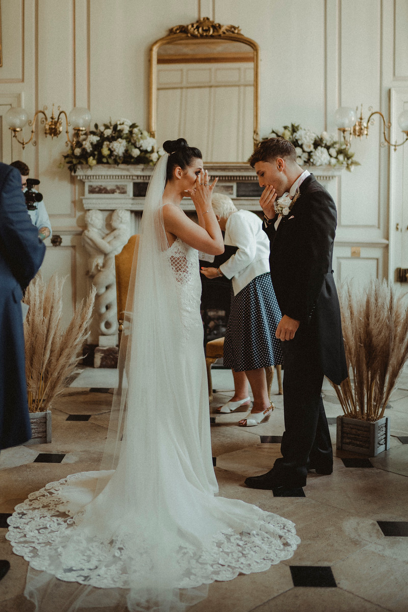 Emotional Photo of Bride and Groom