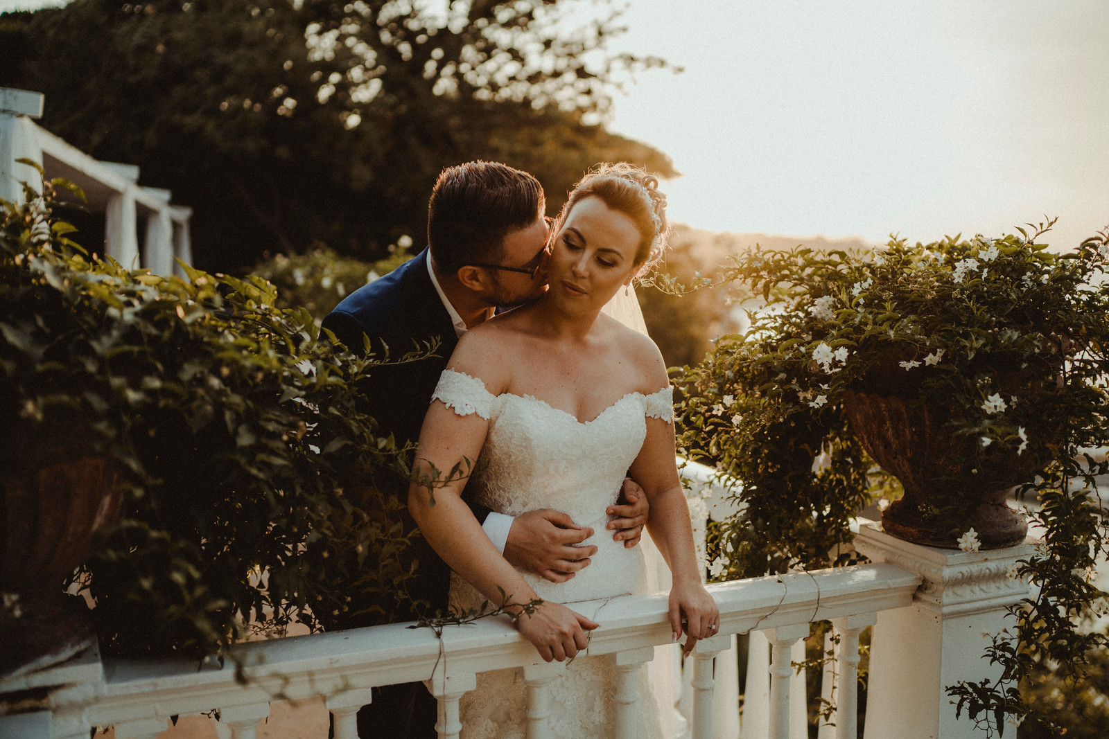 Bride and Groom Wedding Photo With a Sunset Background