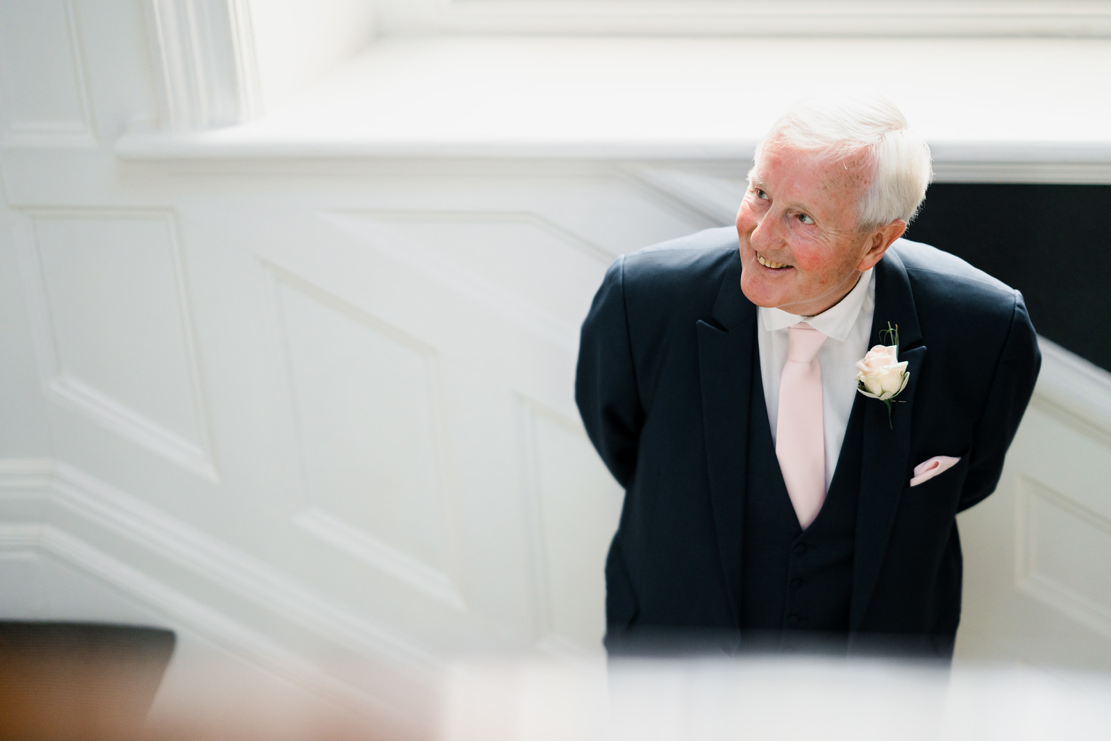 Brides fathers reaction to seeing her wedding dress- full of smiles