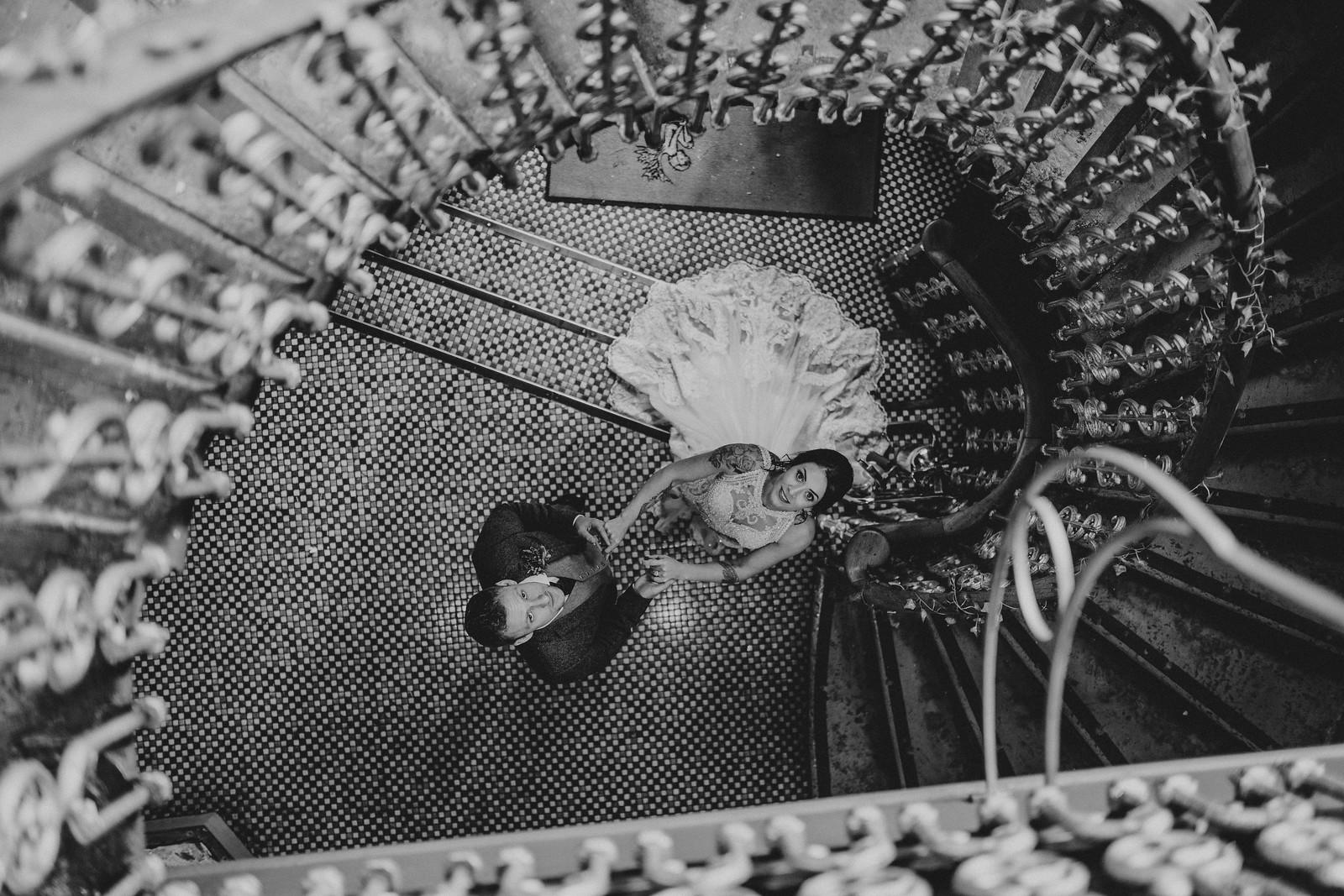 Bride and groom wedding photo - above shot
