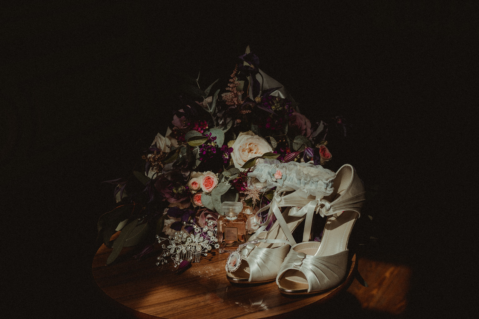 Brides wedding flowers and wedding shoes