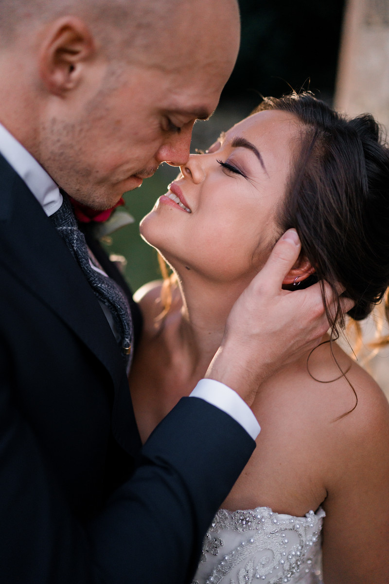 Close up of Bride and groom - full of love