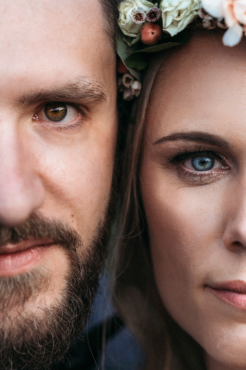 Close up shot of bride and groom
