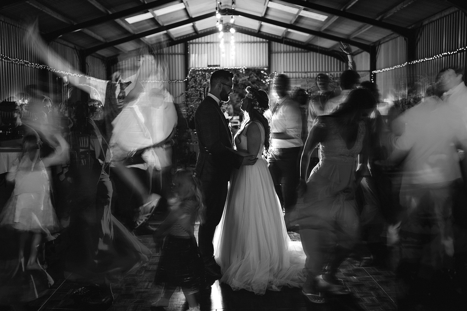 Creative wedding photo of bride and groom