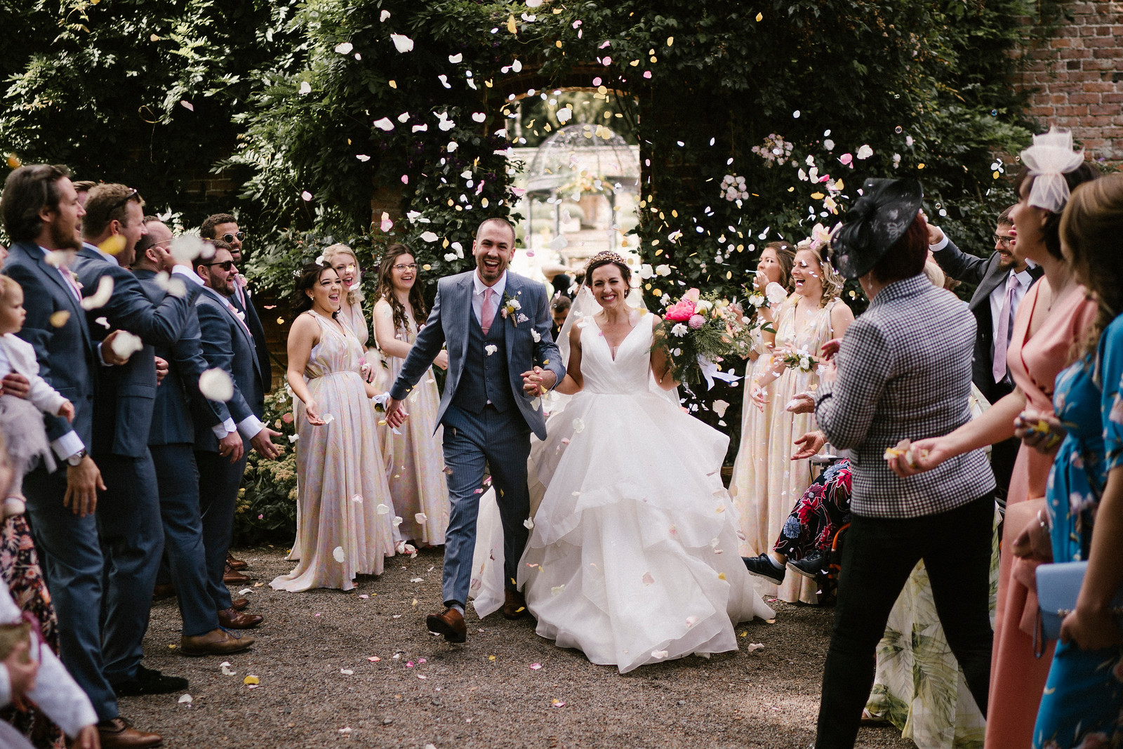 Bride and Groom Confetti Wedding Photo