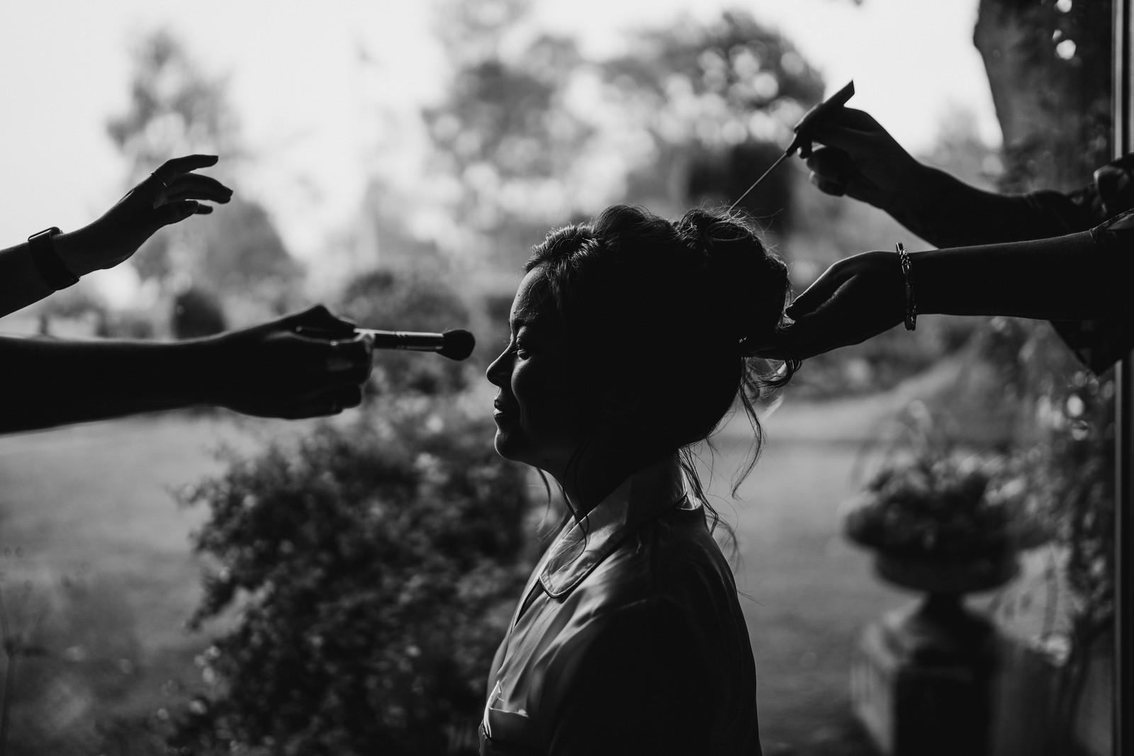 Creative photo of bride and bridesmaids