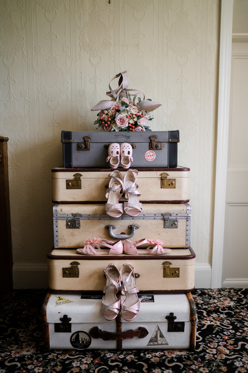 Wedding photo of the bride and bridesmaids shoes