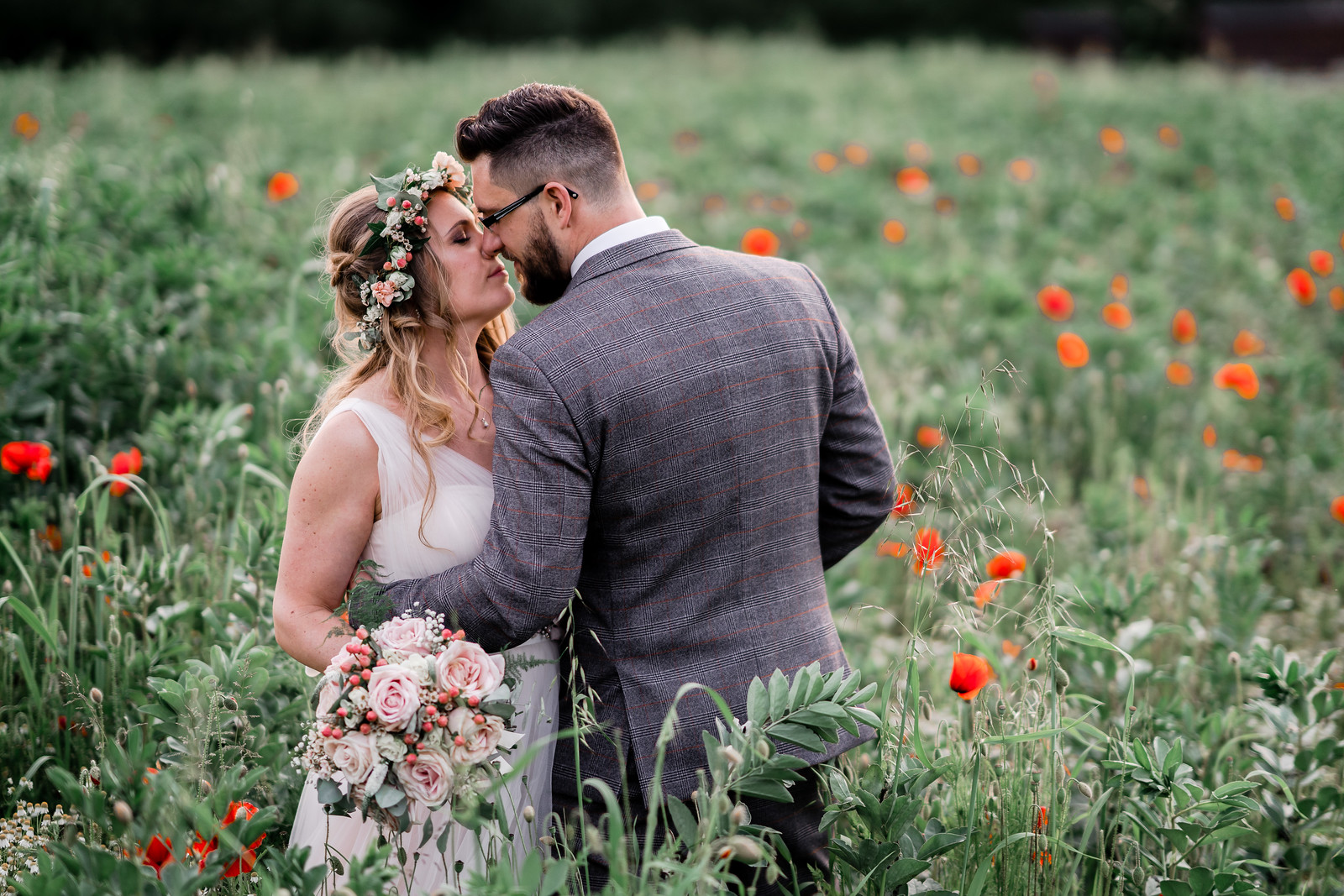 Bride and groom wedding photo surrounded by beauty - Carmarthenshire Wedding photographers
