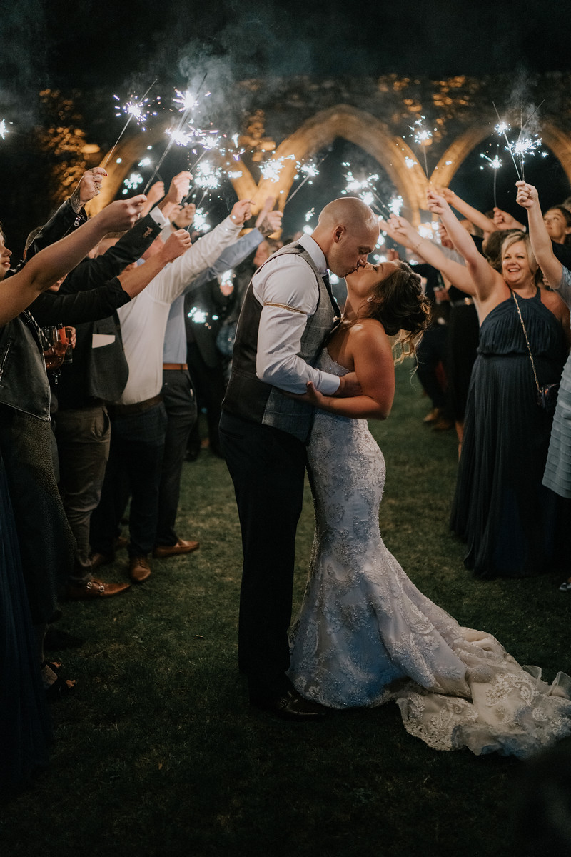 Sparkler wedding photo of bride and groom