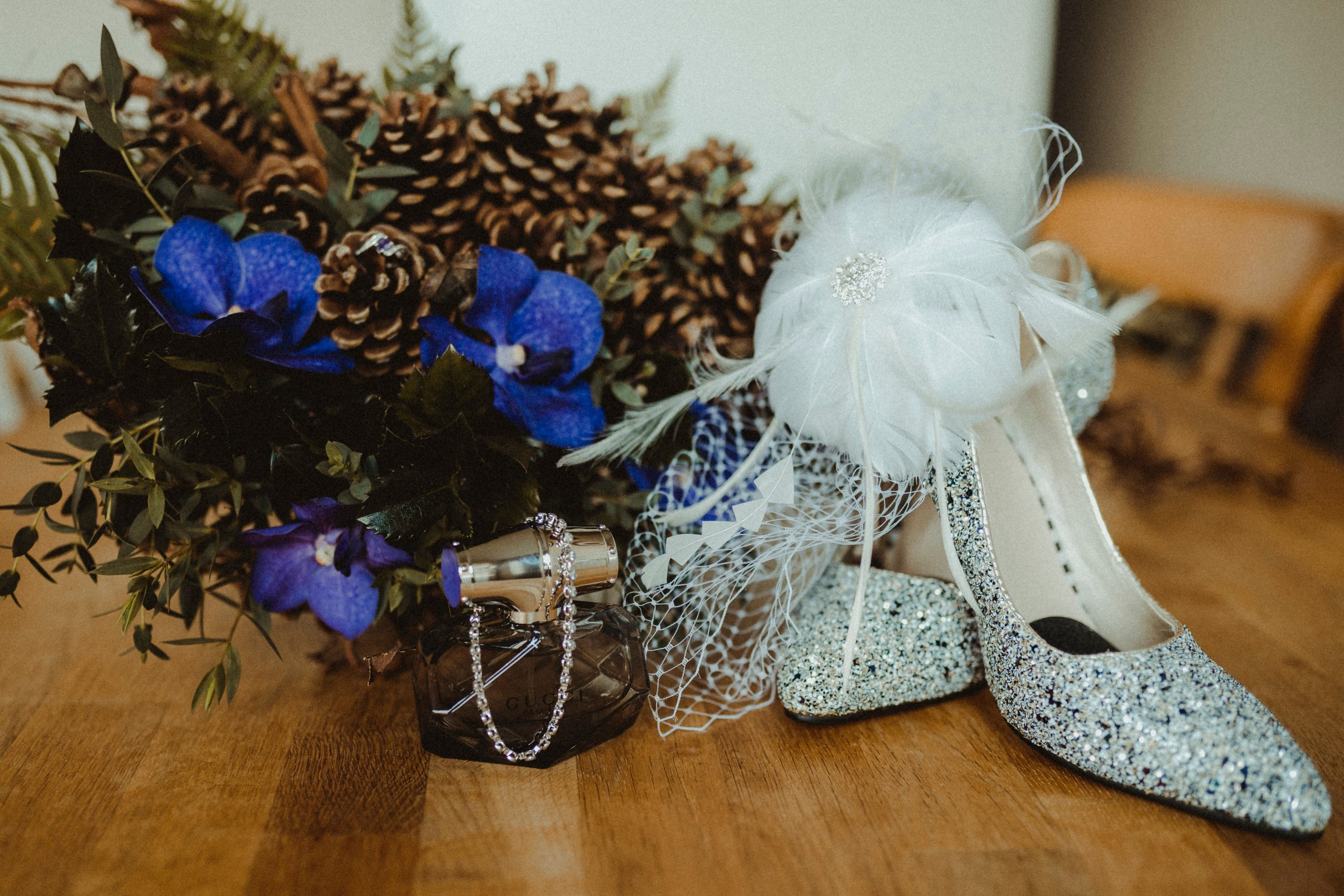 Brides wedding shoes and wedding flowers