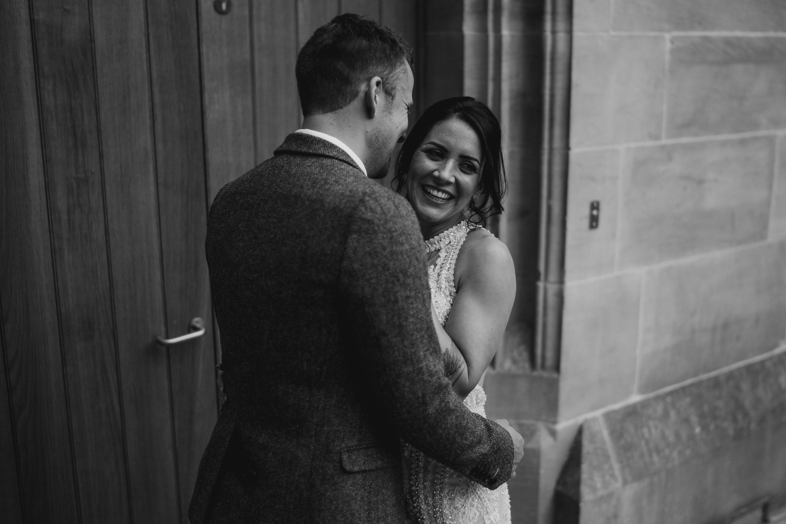 Bride and groom full of laughs