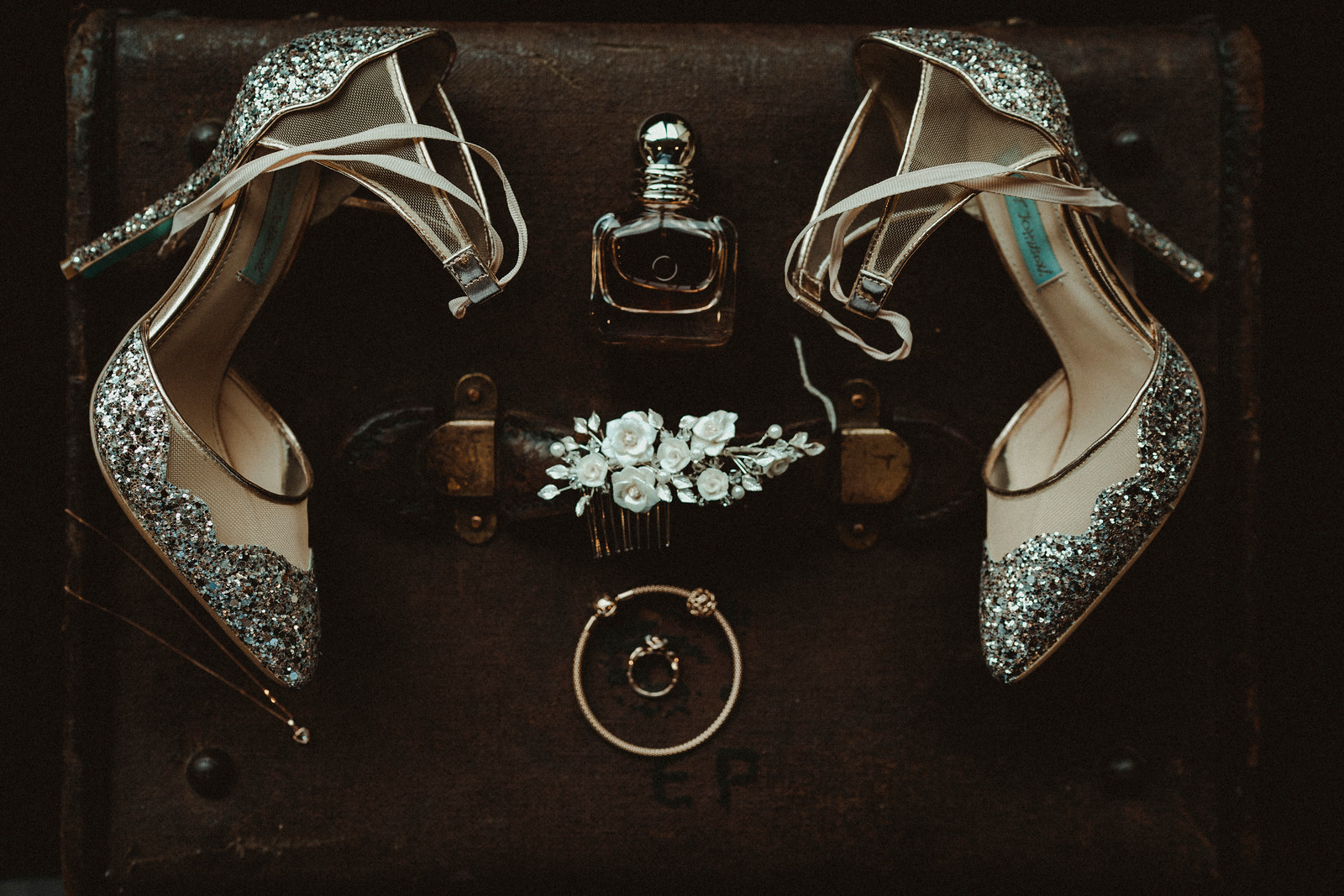 Brides wedding shoes and jewellery