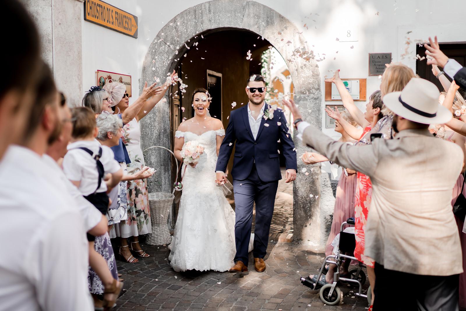 Bride and groom confetti photo