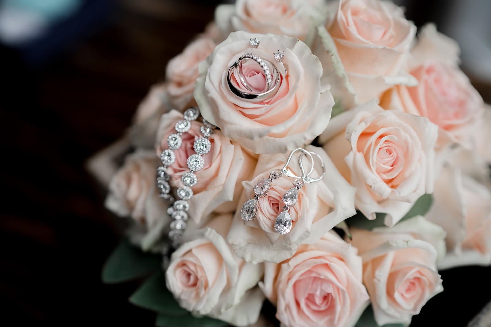 Brides wedding flowers and jewellery