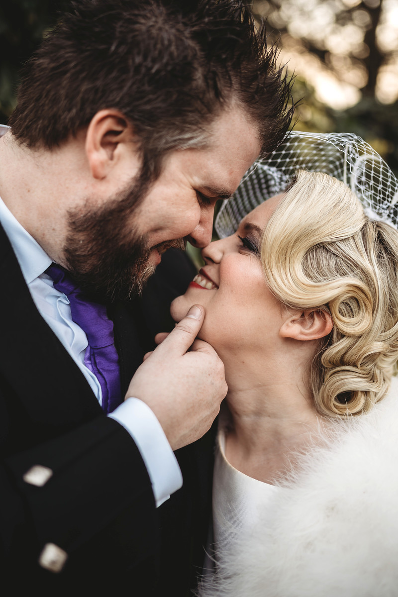 Close up of bride and groom wedding photo