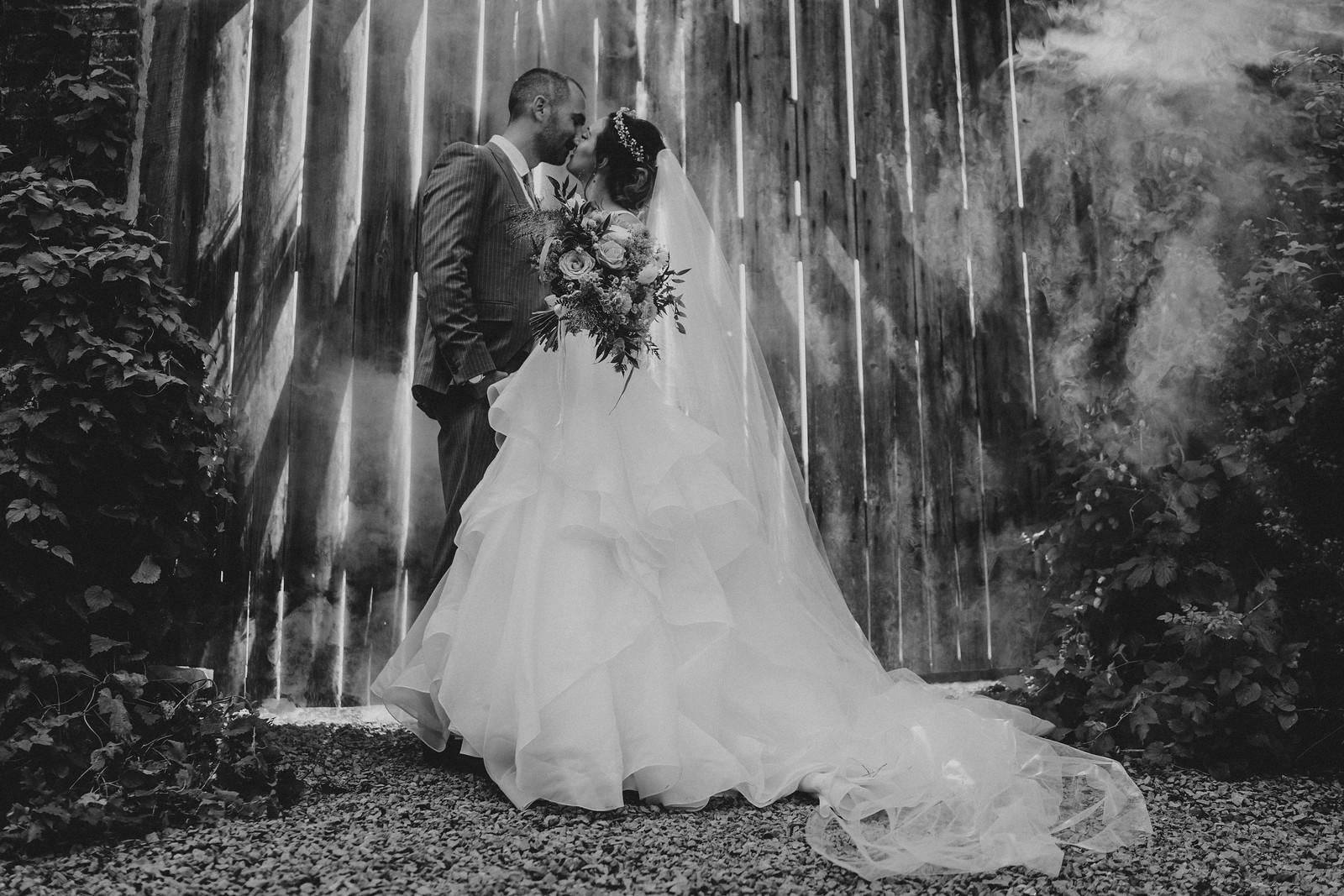 Bride and Groom Wedding Photo Kiss - Wedding Photographer Derbyshire