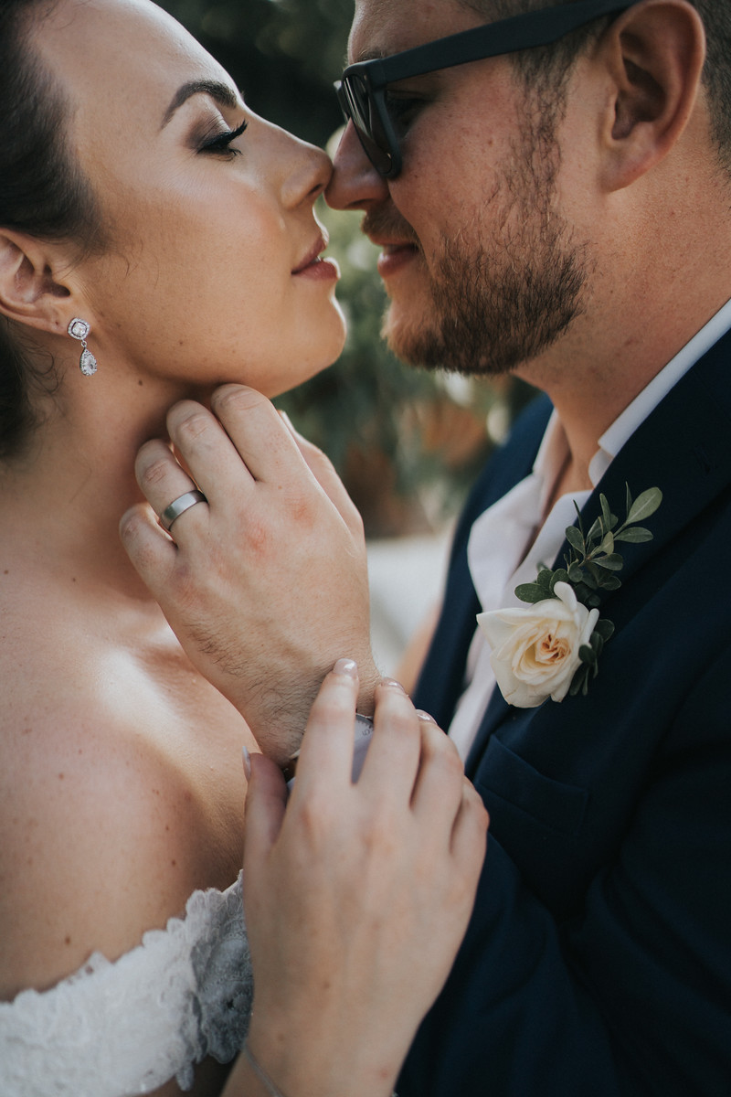 Close up of bride and groom