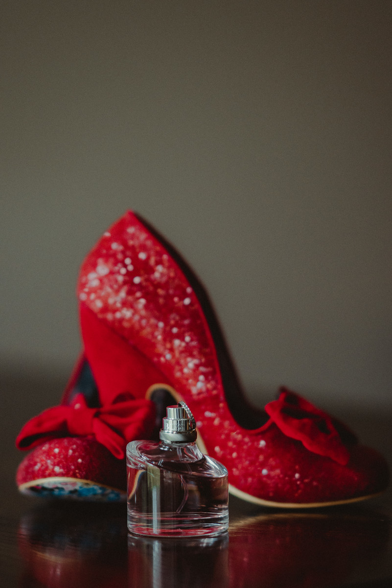 Brides wedding shoes and perfume