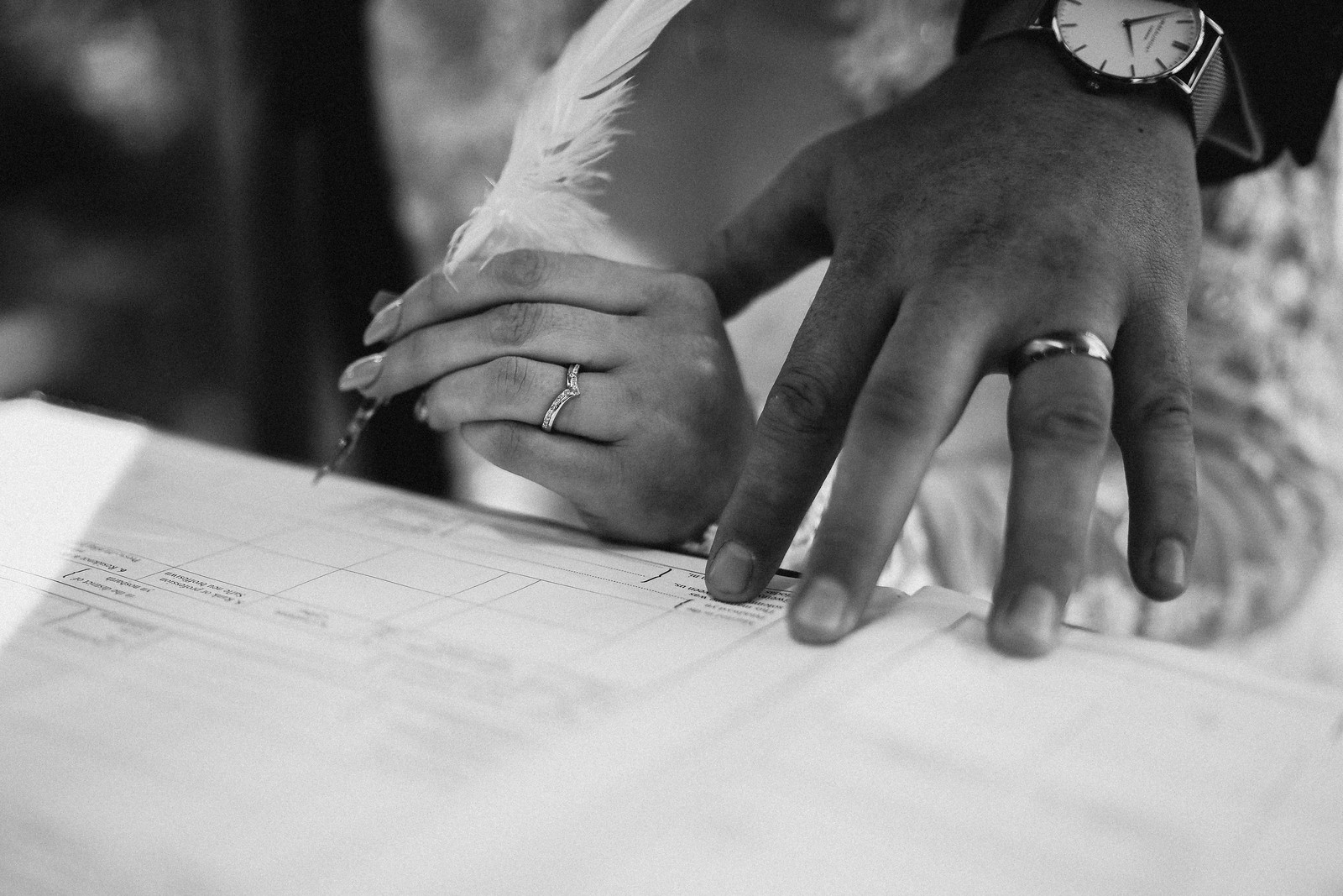Close of brides and grooms hands with their wedding rings