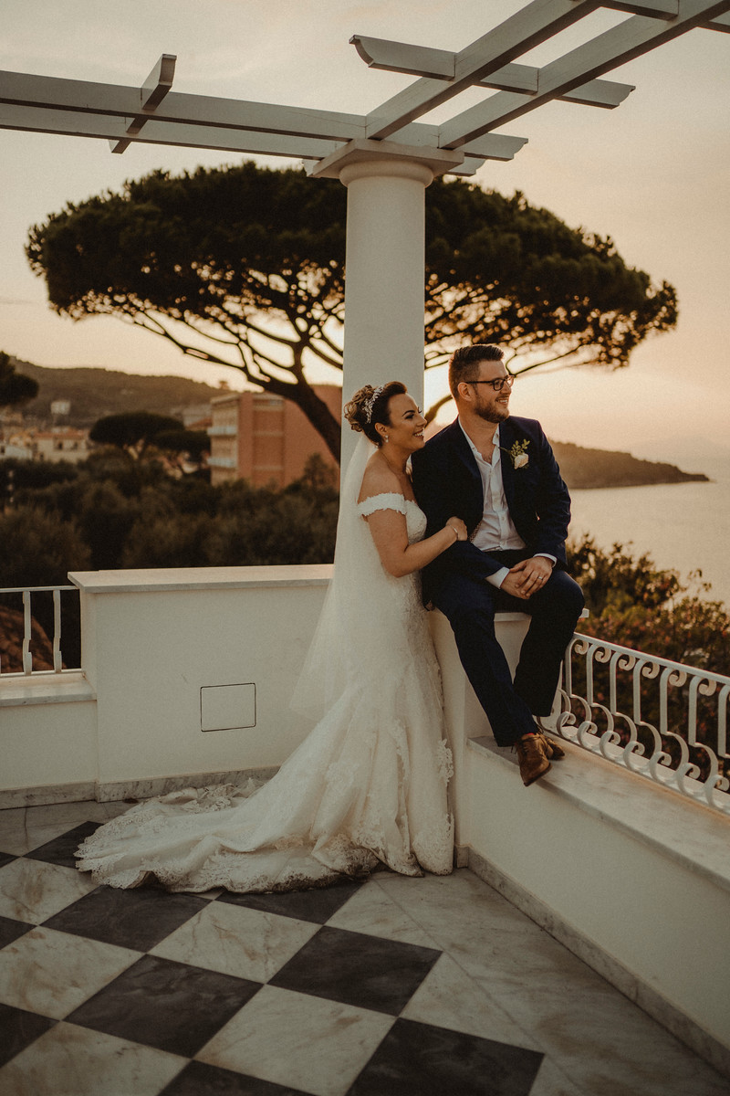 Bride and groom look at the stunning views
