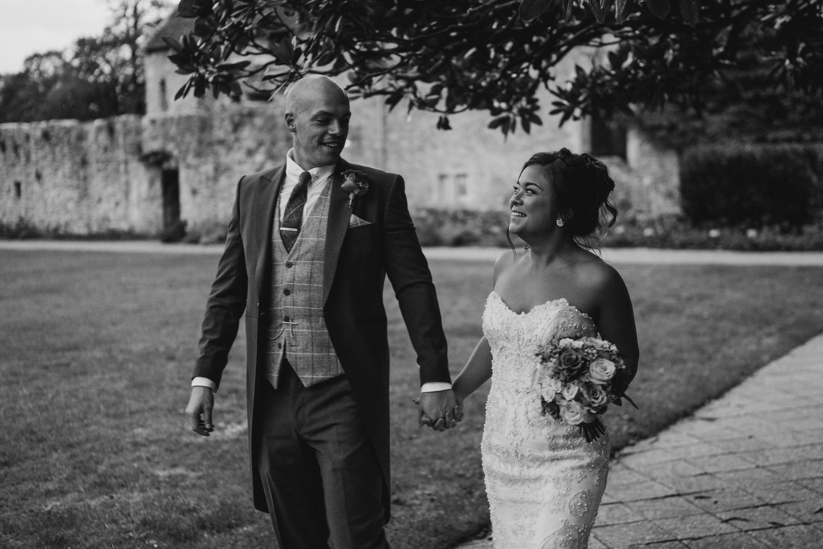 Bride and groom full of smiles