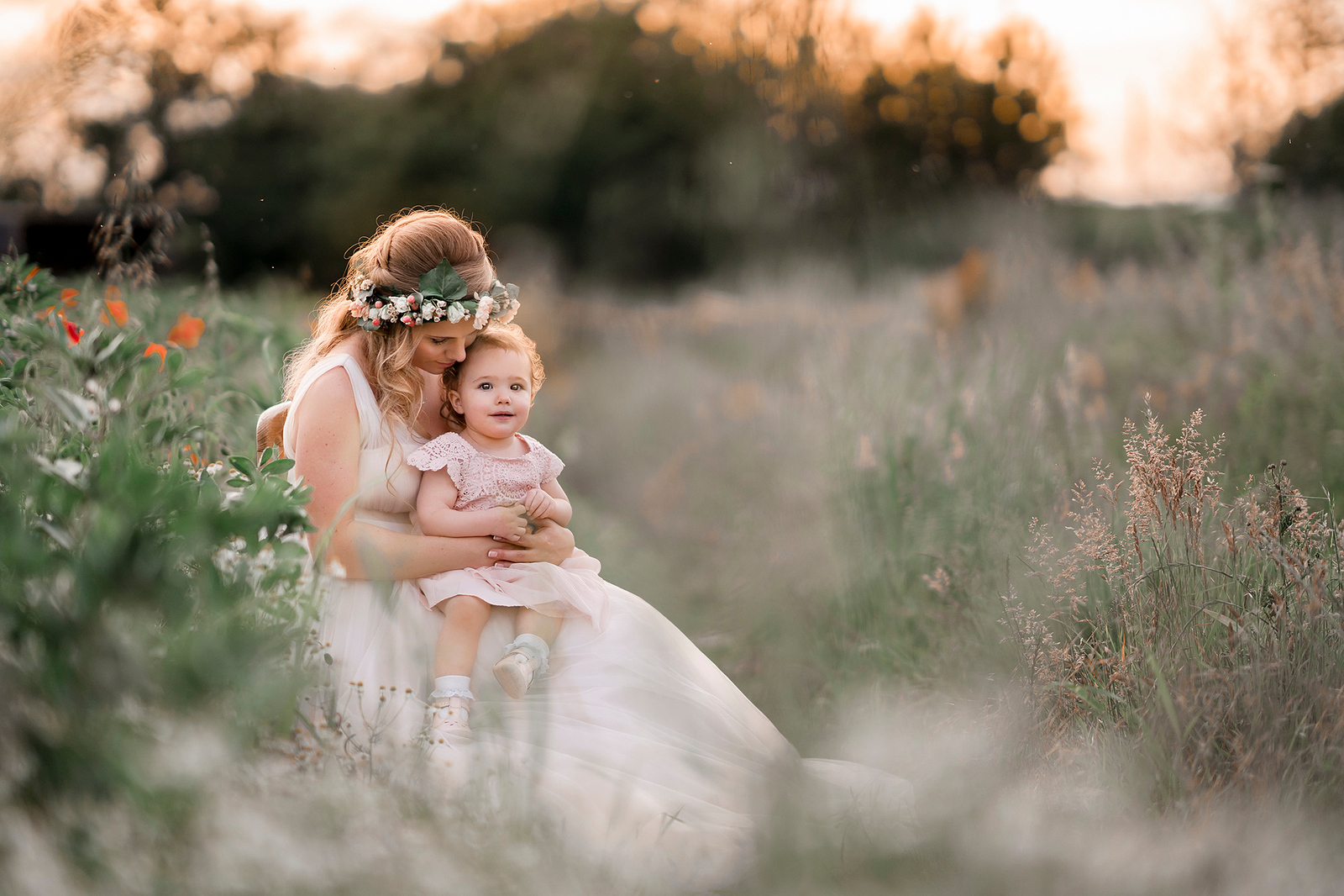 Bride and daughter wedding photo