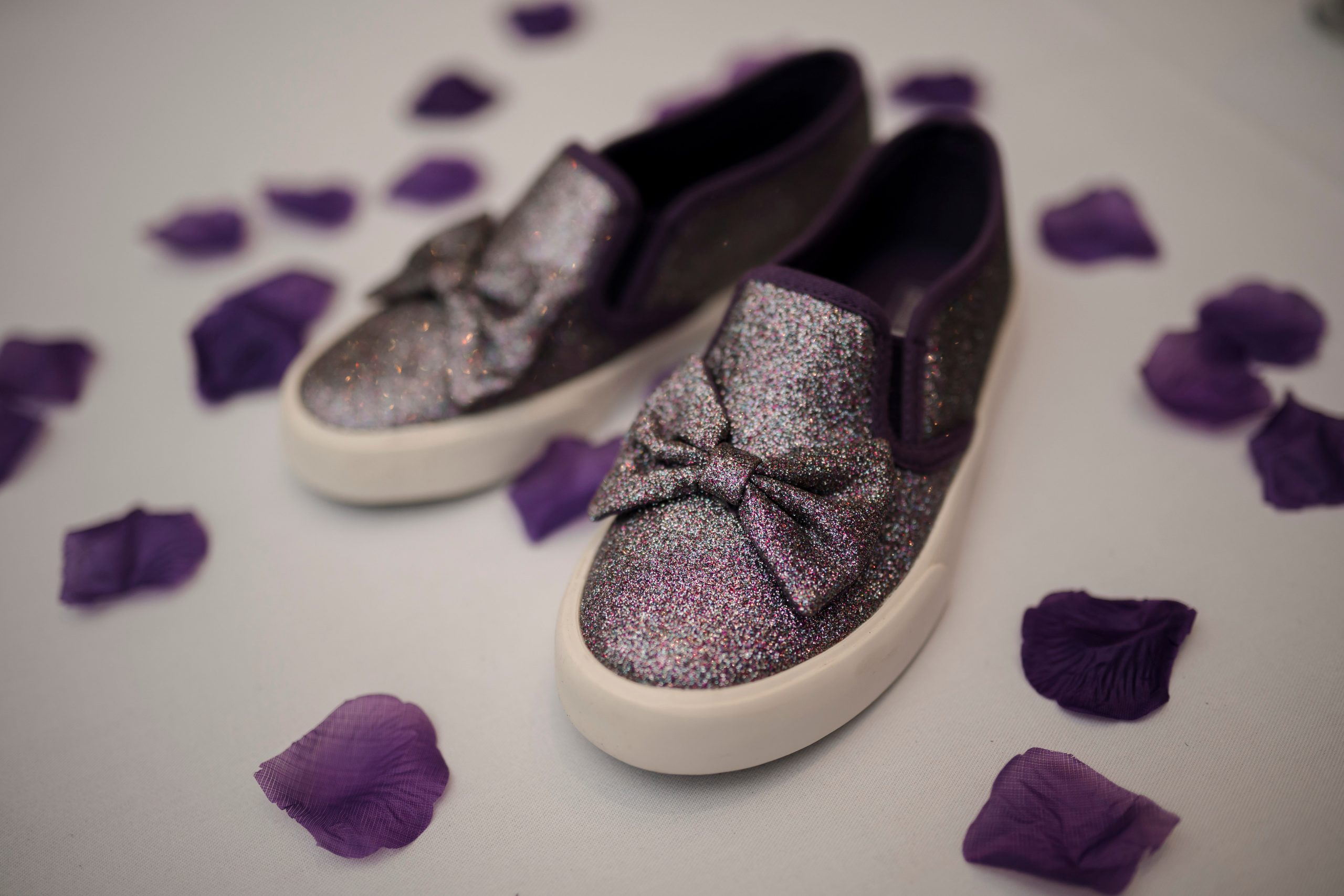 Brides purple wedding shoes