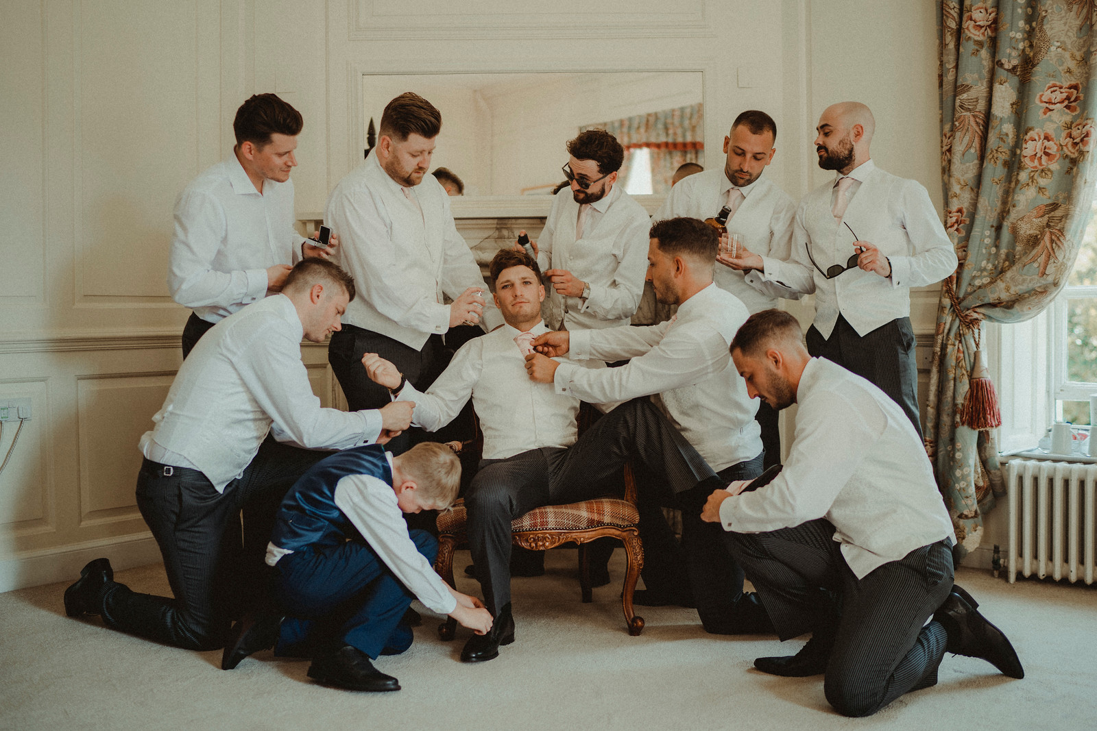 Fun Groomsmen Wedding Photo - Gosfield Hall Wedding Photo