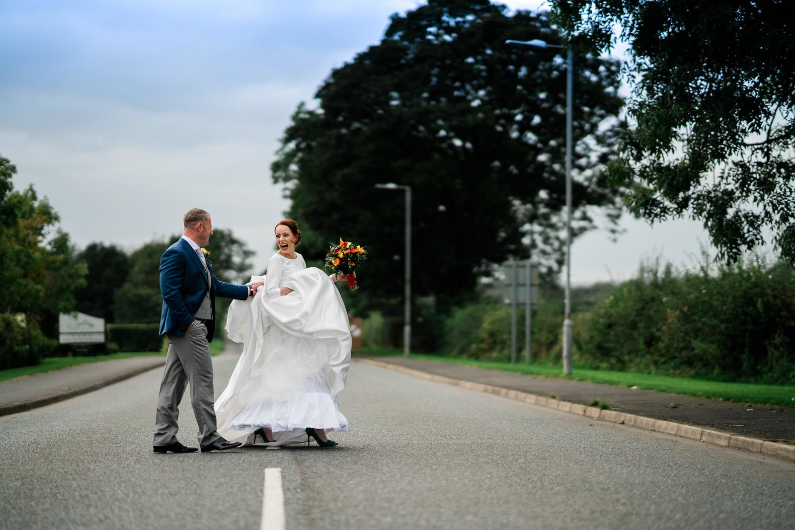 A Fun Wedding Photo of Bride and Groom - Hampshire Wedding Photographers
